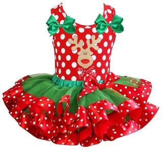 Kerst jurk tutu set rendier polkadot tanktop rood