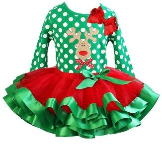 Kerst jurk tutu set rendier green polkadot longsleeve