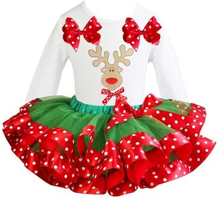 Kerst jurk tutu set rendier white longsleeve