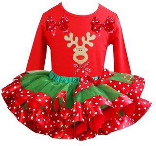 Kerst jurk green red tutu set rendier red longsleeve