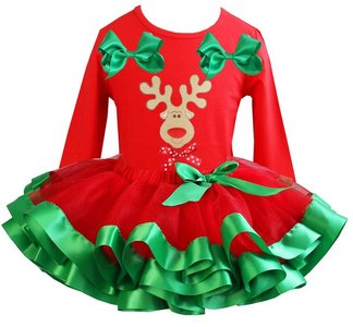 Kerst jurk tutu set rendier red longsleeve