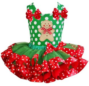 Kerst jurk tutu set gingerbread polkadot tanktop