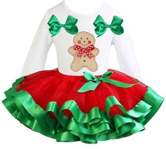Kerst jurk tutu set gingerbread white longsleeve