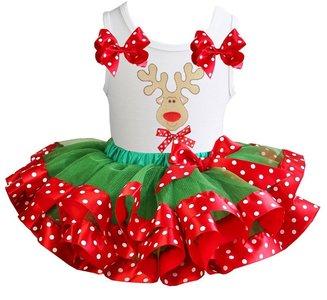 Kerst jurk tutu set rendier polkadot white  tanktop