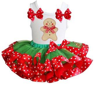 Kerst jurk tutu set gingerbread  polkadot white  tanktop