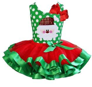 Kerstjurk kerstman Polkadot green