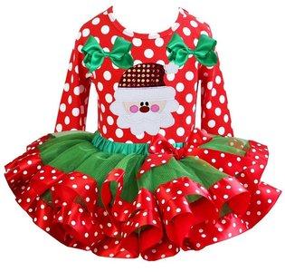 Kerst jurk kerstman  tutu set polkadot red longsleeve