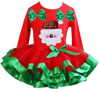 Kerst jurk tutu set kerstman red longsleeve