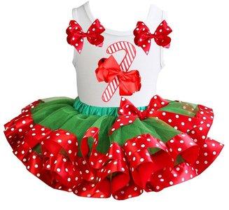 Kerst jurk tutu groen rood  set Candy Stick tanktop wit