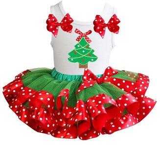 Kerst jurk tutu groen rood  set kerstboom tanktop wit