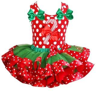 Kerst jurk tutu set candy stick polkadot tanktop