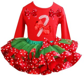 Kerst jurk tutu set candy stick Red longsleeve