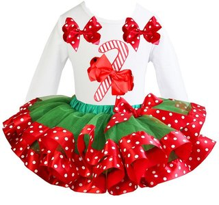 Kerst jurk tutu set Candy stick white longsleeve