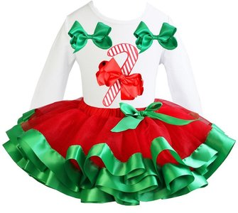 Kerst jurk rood groen  tutu set Candy stick white longsleeve