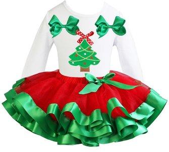 Kerst jurk rood groen  tutu set kerstboom white longsleeve