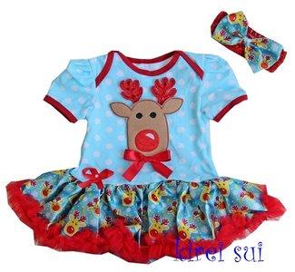 Baby kerstjurk rendier blauw rood