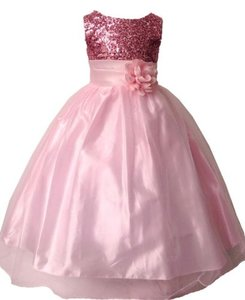 feestjurk glitter peach pink 104-176
