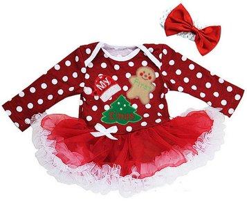 Mijn 1e kerst jurk polkadot rood longsleeve