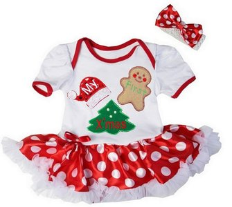 Mijn 1e kerst jurk wit rood polkadot