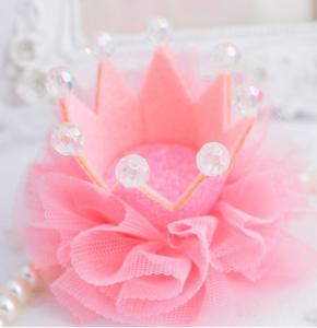 Kroon haarclip Roze