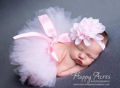 2delige foto prop tutu & haarband pink met roze bloem