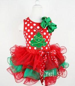 Kerst tutu Polkadot Rood kerstboom