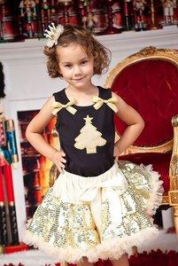 Kerst petticoat set 3delig Goud glitter