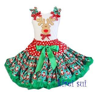 Kerst petticoat set satijn rendier