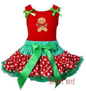 Kerst petticoat set 2 laags stippeld rood groen ginger pop Tanktop & longsleeve