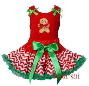Kerst petticoat set 2 laags streep rood groen ginger pop Tanktop & longsleeve