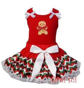 Kerst petticoat set 2 laags Chevron rood groen ginger pop Tanktop & longsleeve