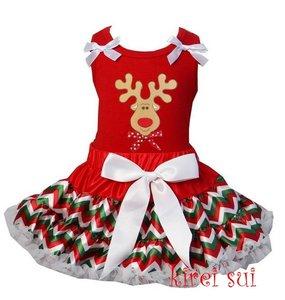 Kerst petticoat set 2 laags Chevron rendier Tanktop & longsleeve
