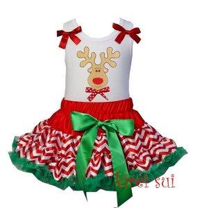 Kerst petticoat set 2 laags streep rood groen rendier white Tanktop & longsleeve
