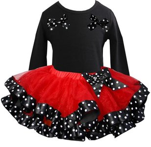 Tutu rok set Longsleeve zwart rood