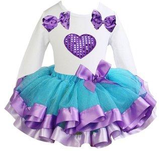 Tutu rok set Longsleeve Aqua purple longsleeve  Glitter hart