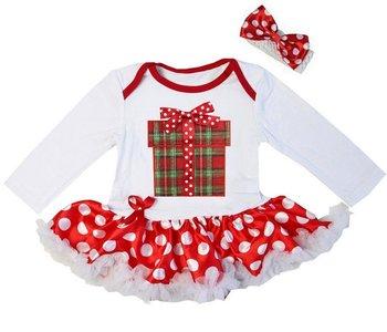 kerst baby jurk wit polkadot rood Kado