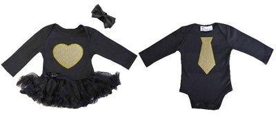Baby tweeling set Fotoshoot baby kleding Zwart goud longsleeve