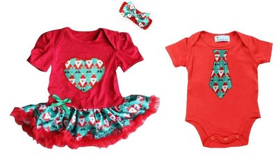 Baby tweeling kerst set baby kleding Rendier Red
