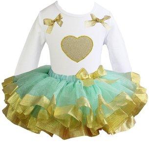 TUTU set jurk mint goud glitter hart