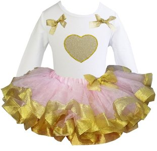 TUTU set jurk Roze goud glitter hart