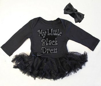 baby jurk zwart glitter My little black dress longsleeve