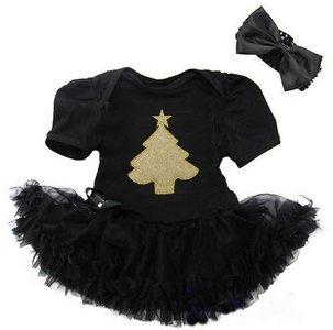 baby kerstjurk zwart kerstboom goud