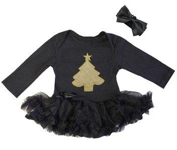 baby kerstjurk zwart kerstboom goud longsleeve
