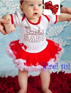 baby kerstjurk Glitter rood wit Santa baby