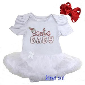 baby kerstjurk Glitter wit Santa baby