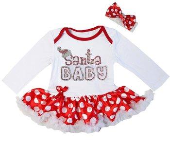 baby kerstjurk Glitter Santa baby longsleeve