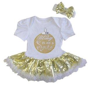 baby jurk glitter goud kerstbal