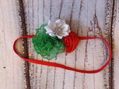 Baby Haarband Kerst Rood Wit groen