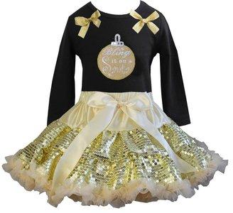 Kerst petticoat set zwart goud Bling it on longsleeve