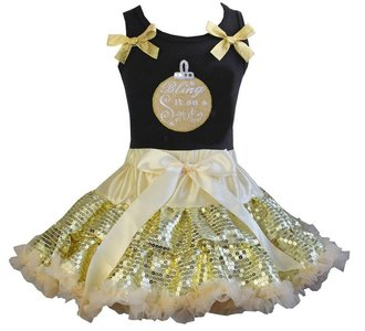 Kerst petticoat set zwart goud Bling it on